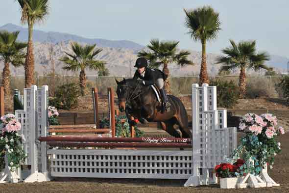 Alivia Hart and her pony Maybelline, on course at HITS.