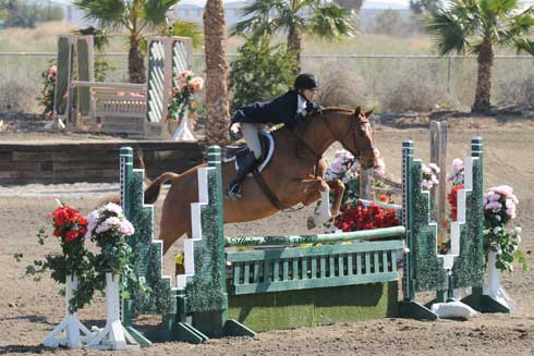 Jenny Karazissis and Undeniable clear a hunter geen jump.