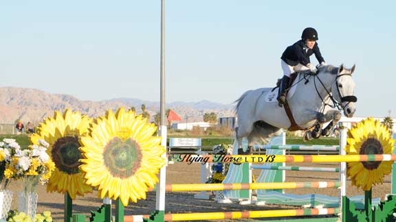 Josephina Nor and her graceful grey horse seem to float over a giant oxer constructed to look like Sunflowers.